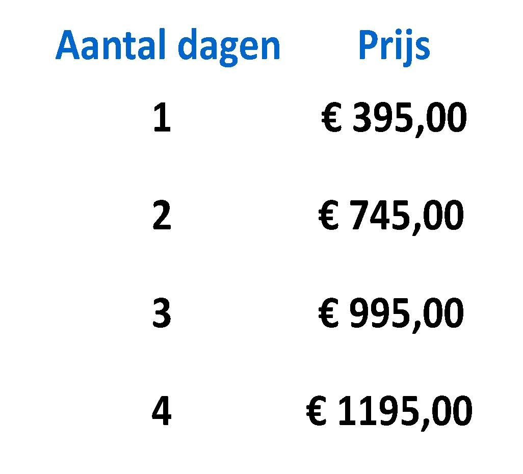 Prijs € 395,00 all-in / vrij van btw